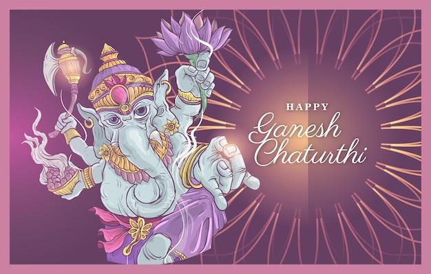 Ilustración feliz de ganesh chaturthi