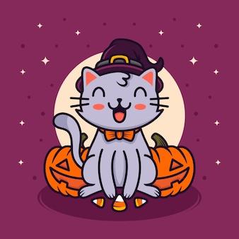 Ilustración feliz del gato de halloween