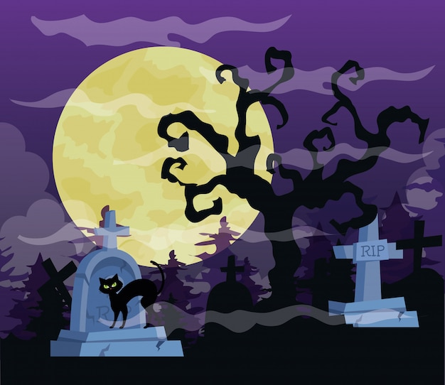 Ilustración de feliz halloween con árbol seco, gato, cementerio de lápidas y luna llena