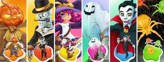 Ilustración de feliz halloween con personajes de monstruos