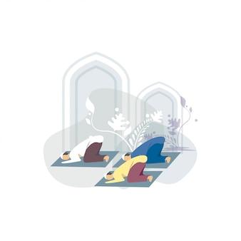 Ilustración de feliz ied mubarak saludos concepto