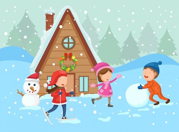 Ilustración de feliz navidad en un paisaje de invierno