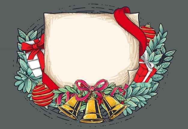Ilustración de feliz navidad con papel vintage