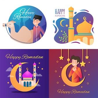 Ilustración feliz de ramadán