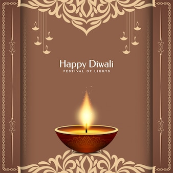 Ilustración feliz del saludo del festival del festival de diwali india