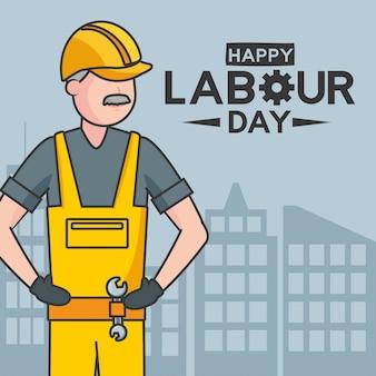 Ilustración feliz del trabajador del día del trabajo
