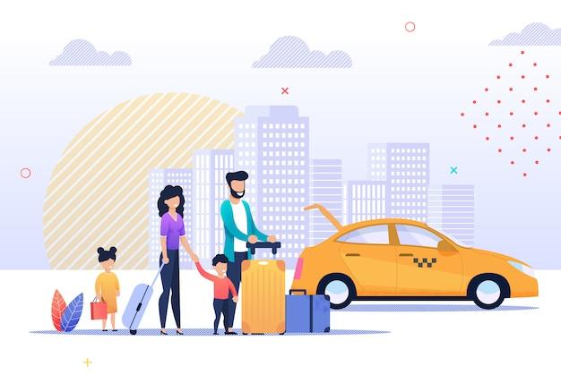 Ilustración de feliz viaje familiar y servicio de taxi