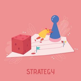 Ilustración femenina ganadora planificación estratégica, concepto de trabajo en equipo. personaje de personas jugando al juego de mesa, lanzando los dados. riesgo empresarial y concepto de juego. dibujos animados