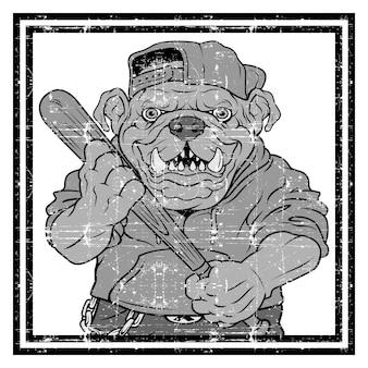 Ilustración feroz jugador de béisbol bulldog golpea una pelota
