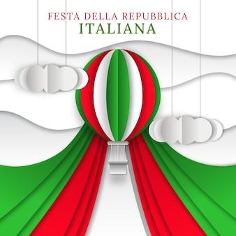 Ilustración de festa della republicablica en estilo papel
