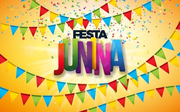 Ilustración de festa junina con banderas de fiesta y confeti de colores