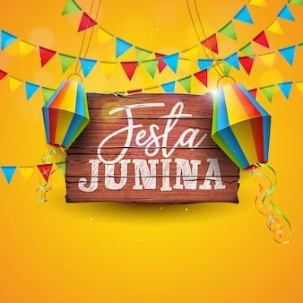 Ilustración de festa junina con banderas de fiesta y linterna de papel sobre fondo amarillo.