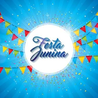 Ilustración de festa junina con banderas de fiesta y linterna de papel sobre fondo azul.