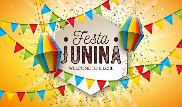 Ilustración de festa junina con banderas de fiesta y linterna de papel