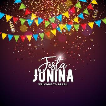 Ilustración de festa junina con banderas de fiesta y tipografía