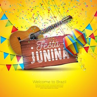 Ilustración de festa junina con guitarra acústica y banderas de fiesta.