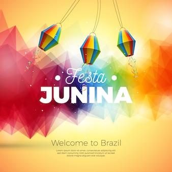 Ilustración de festa junina con linterna de papel sobre fondo abstracto
