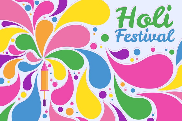Ilustración de festival holi de diseño plano