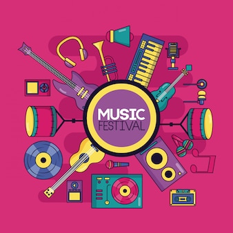 Ilustración del festival de instrumentos musicales