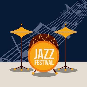 Ilustración del festival de jazz lista de música tambores ilustración vectorial
