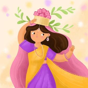 Ilustración de festival de teej de acuarela pintada a mano
