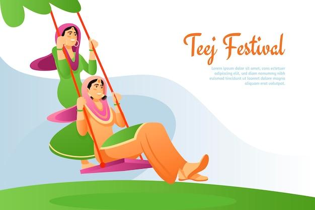 Ilustración de festival de teej degradado