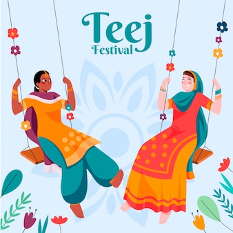 Ilustración del festival teej