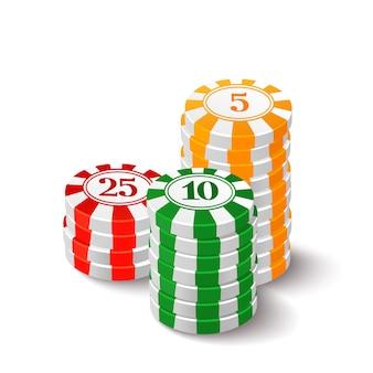 Ilustración de fichas de casino en blanco