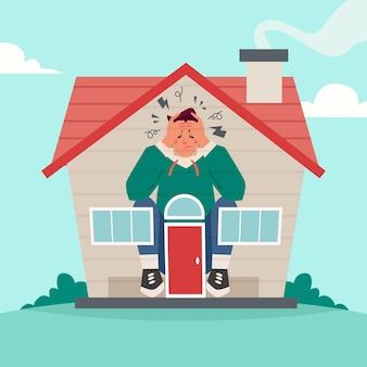 Ilustración de fiebre de cabina con casa