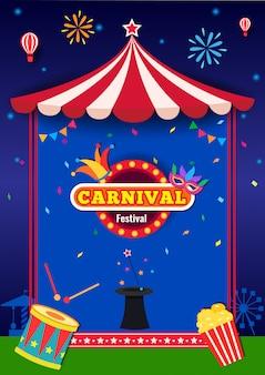 Ilustración de la fiesta de carnaval con marco de carpa