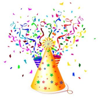 Ilustración de fiesta colorida con un sombrero de fiesta dorado cónico, serpentinas o cintas y confeti de papel flotante