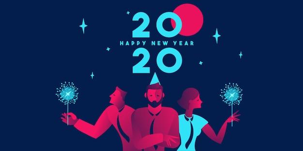 Ilustración de fiesta corporativa 2020