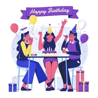 Ilustración de fiesta de cumpleaños plana