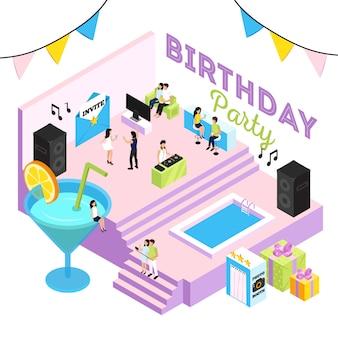 Ilustración de fiesta de cumpleaños con salón de cócteles, piscina interior, sistemas acústicos y gente bailando al dj.