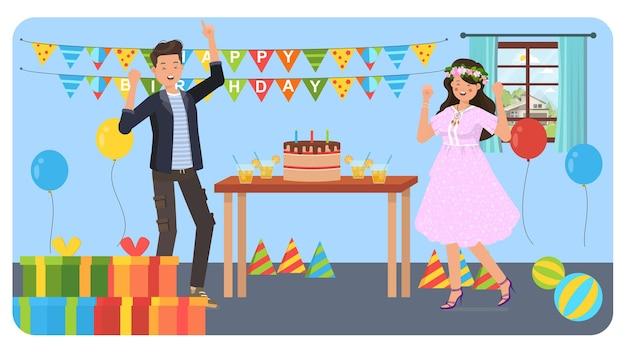 Ilustración de fiesta de cumpleaños