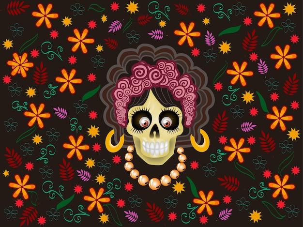 Ilustración para la fiesta de da de muertos
