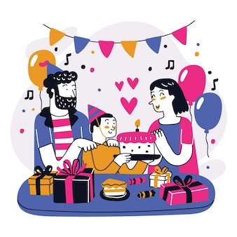 Ilustración de fiesta de feliz cumpleaños