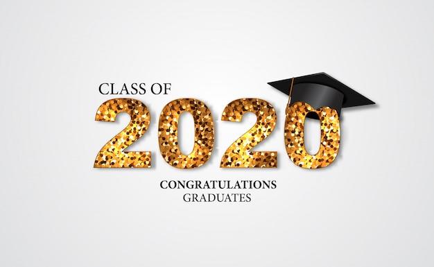 Ilustración de la fiesta de graduación para el graduado de la felicitación de la clase 2020 con texto dorado y gorras