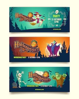Ilustración de fiesta de halloween de tarjetas de invitación o pancartas.