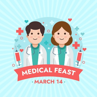 Ilustración de fiesta médica con médicos que usan estetoscopios