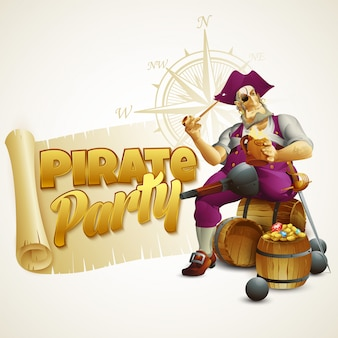 Ilustración de fiesta pirata