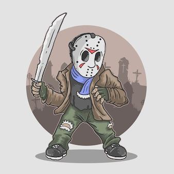 Ilustración de la figura de la mascota de halloween