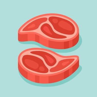 Ilustración de filetes de carne cruda.
