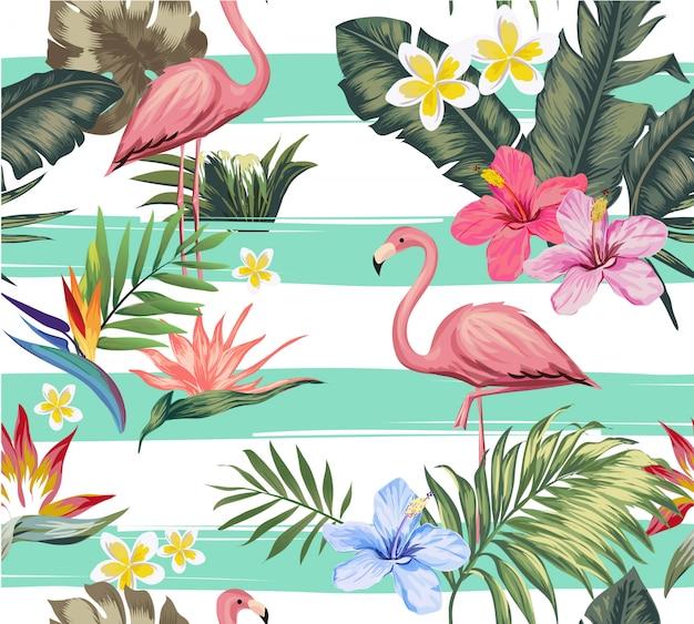 Ilustración de flamingo y flor tropical sin costura