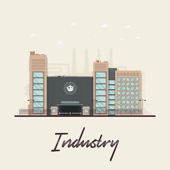 Ilustración de flat factory para videos explicativos.