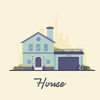 Ilustración de flat house para videos explicativos.