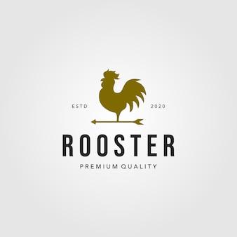 Ilustración de flecha de logotipo de gallo vintage