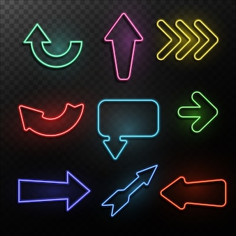 Ilustración de flechas de neón