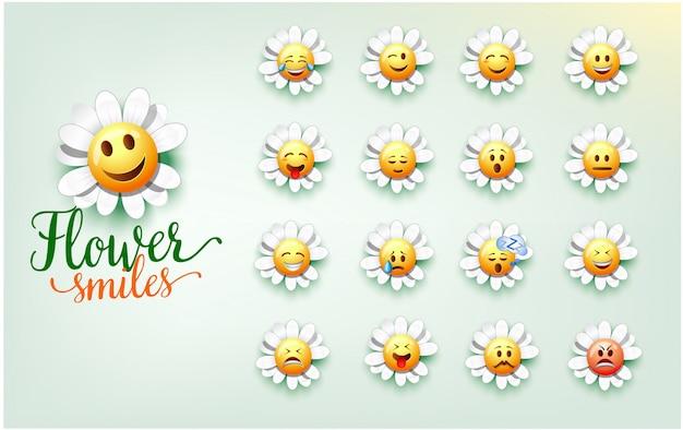 La ilustración de una flor linda sonríe. conjunto de expresión facial de flores