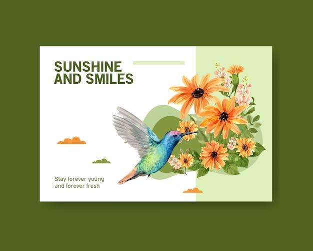Ilustración de flor de primavera con colibrí